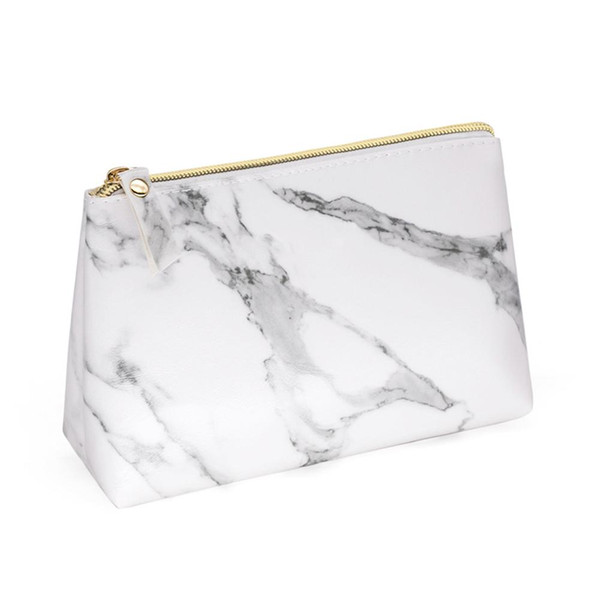 PU Leather Cosmetic Bag Make Up Marble Portable Ladies Travel Case Makeup Brushes Organizer Storage Pouch Toiletry Wash Kit