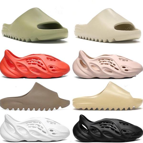 best selling Classic Slides Men Women Slippers Foam Rnner Slide Bone Earth Brown Resin Bone Desert Sand Triple Black Kids Children slides beach 36-45