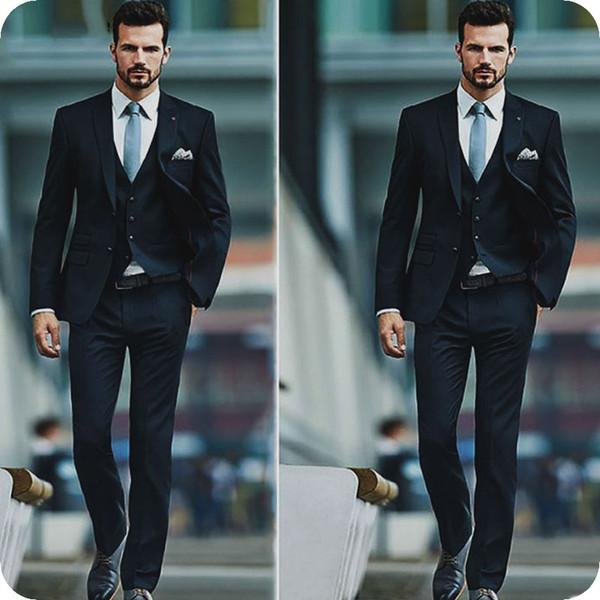 Dark Blue Men Suits for Wedding Groom Tuxedo 3Piece(Coat+Pants+Vest)Peaked Design Vintage Costume Homme Groomsmen Outfits Trajes para hombre