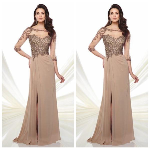 Modest Sheer Half Sleeves Mother's Formal Dresses Chiffon Skirt Split Side Women Maxi Evening Party Gowns Pleated 2020 Vestidos De Soiree