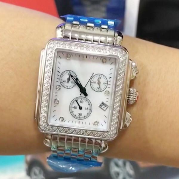 Montre de luxe Michele Signature DECO Diamonds MOP Shell Cadran Diamant Marque Mouvement À Quartz Montre Pour Femme MWW06P000099 Montres Dame 33mm