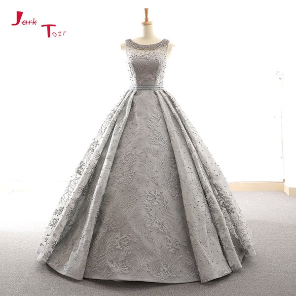 Оптовая Vestidos De Novia 2019 Sexy Open Back серый жемчуг кружева бальное платье Свадебные платья плюс размер Alibaba интернет-магазины