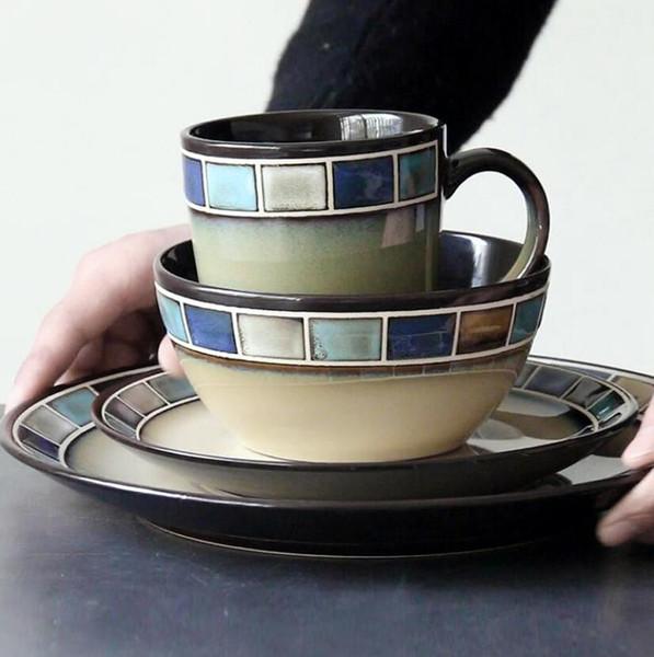 Hohe Qualität Kreative Western Besteck Steak Pasta Teller Salatschüssel Keramikgeschirr Besteck-fach Kaffeetasse Tassen Großhandel
