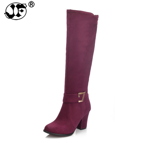 Large Size 32-48 Fashion High heels riding Boots fashion autumn Winter Boots Zip up Women Shoes Woman knee-high boots 563