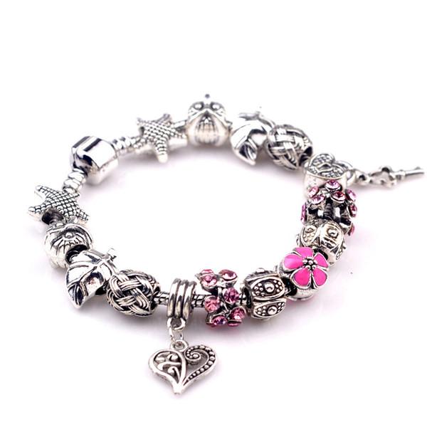Hot style Fine Tibetan Alloy Beads Bracelet Pandora Charms Glass Beads DIY Beaded Strands Bracelet for women