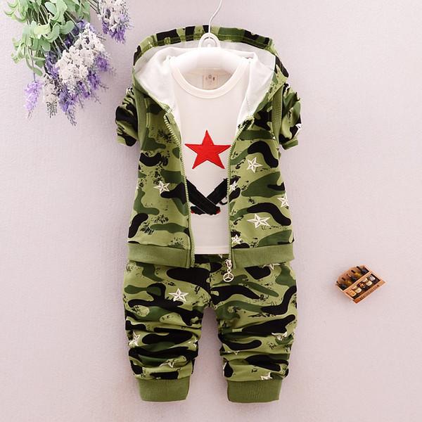 Baby Boys одежда детская 100% хлопок одежда комплекты малыша дети мальчики камуфляж спортивные костюмы осень комплект одежды пальто с капюшоном B63
