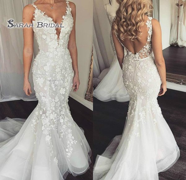 best selling 2019 Vintage Mermaid Deep V-Neck Appliques Wedding Dress Sexy Sleeveless Backless Lace Evening Wear Formal Gown High-end Wedding Boutique