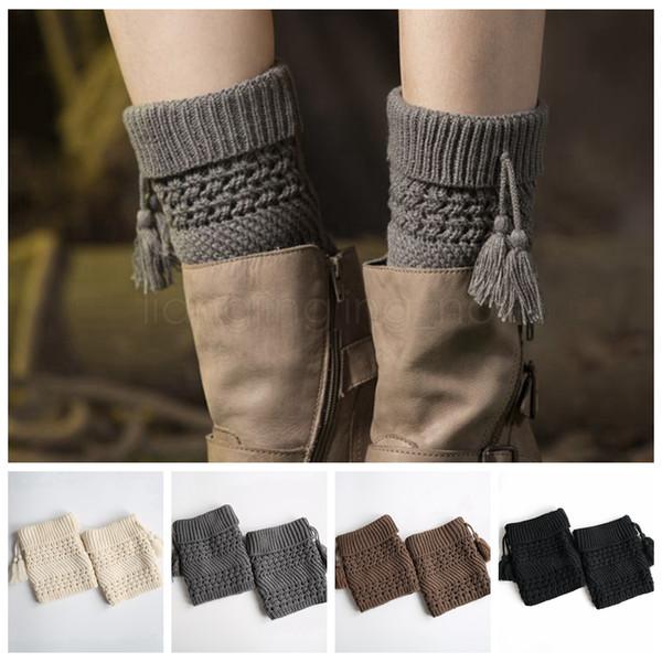 4styles Scaldamuscoli inverno della nappa delle donne lavorato a maglia Sock elastica elastica morbida cornice esterna del caricamento del sistema di copertura polsini venduti 2pcs / lot FFA2968-1