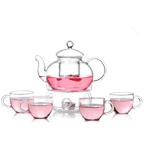 6pcs/pack Clear Modern Flowers Tea Set Warmth Teaware Cups Tea Pot Kungfu Teaware for Lemon Drink / Hot / Iced / Fruit Tea