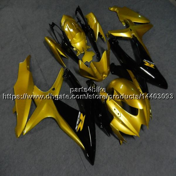 23 цвета + 5 подарков + литьевая форма АБС золото Черный мотор Обтекатель для Suzuki GSX-R600750 2008 2009 2010 GSXR600 K8 пластиковый комплект