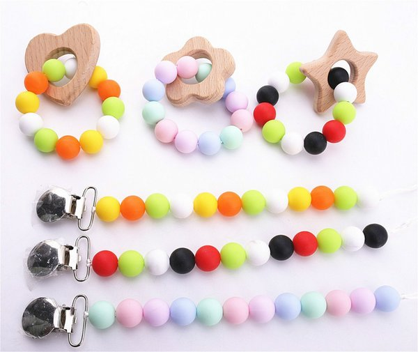 Baby Food Grade Silicone Teether Crunch Cute Baby Baby Children Teeth Toys DIY Chewing Necklace Care Tools