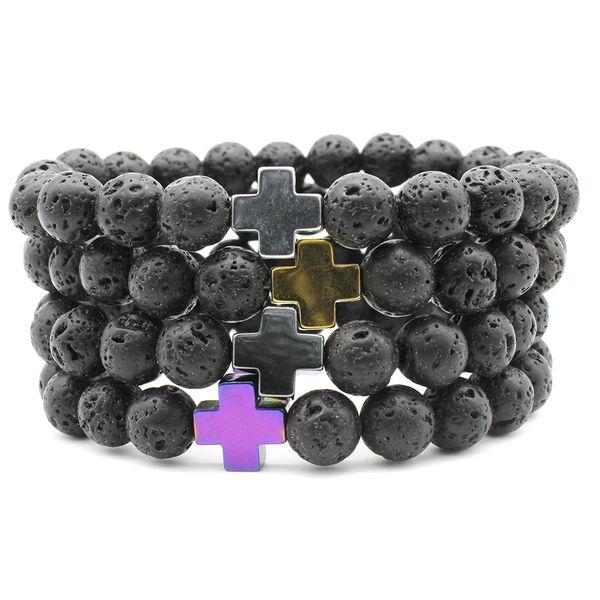 201909 Fashion Volcanic Energy Lava Stone Cross Charm Bracelets for Women Men Yoga Beads Couple Jewelry Stretch Bracelet 4 Colors Gift M331F
