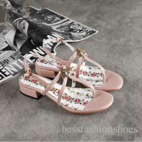 Rose Noir À Talons Bas De Mode Femmes Gladiateur Sandales Bretelles Semelles Imprimées Dames D'été Robe Marque Chunky Sandales Chaussures De Plage Zapatos