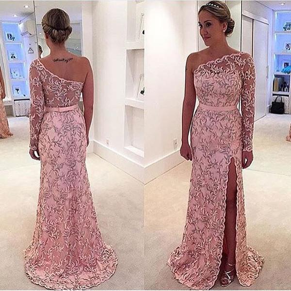 Pink Lace Long Sleeve Pattern Dresses Evening Wear 2019 One-Shoulder Sheer See-through Split Floor Length Celebrity Prom Dress