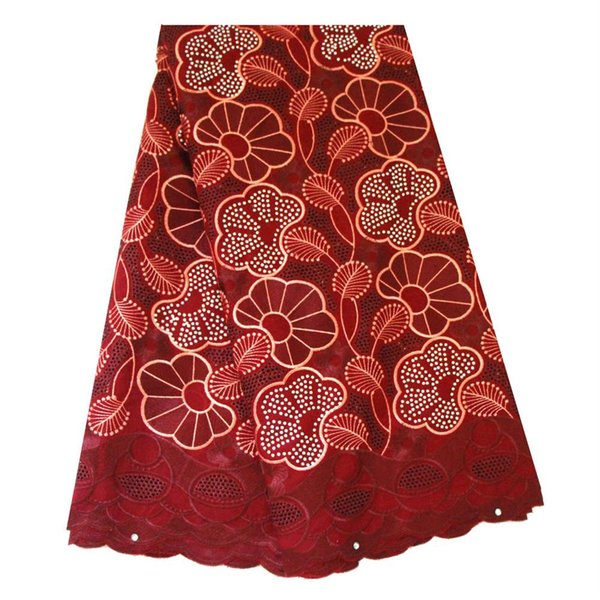 Dry Lace Fabrics High Quality Cotton Lace Fabric Coral Magenta Plenty Stones African Swiss Voile Lace Fabric for Women