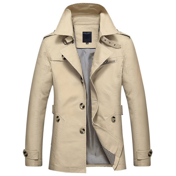 Men Jackets 100% Cotton Casual Jackets And Coats Men Slim Trench Coat Mens Parka England Style  Outwear Jacket Army 5xl