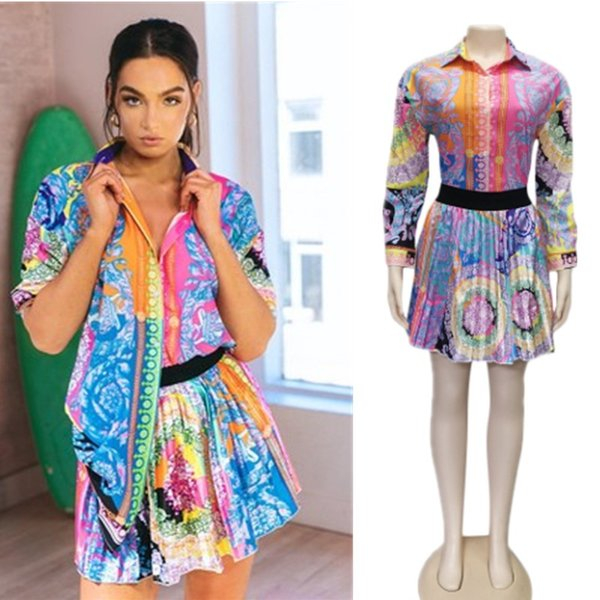 Conjunto de 2 piezas de moda de envío gratuito para mujer, tops femeninos, camisa de manga larga con estampado floral, mini faldas de cintura elástica