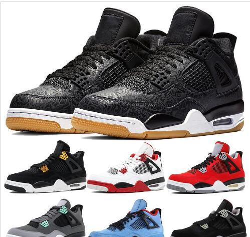 High Quality 4s 4 Basketball Shoes Laser Black Gum Toro Bravo Bred Men Designer Sneaker Fear Pack Fire Red Athletic shoe Trainers