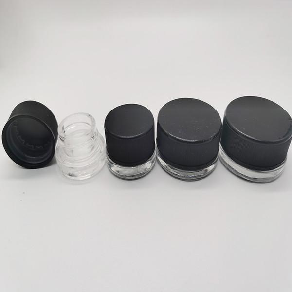 Cam Wax Konteynerleri Kavanoz cam kavanozlara 5ml Koku geçirmez Hava geçirmez Dab Wax Pyrex Depolama çocukların açamayacağı Geri Dönüşümlü Temizle Cam Kozmetik Kavanoz e-sigaralar