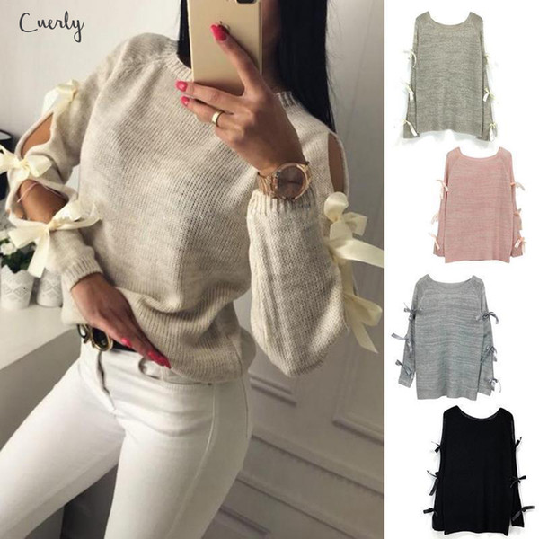 Sweater Women New Bow Hollow Out Long Sleeve Warm Blouse Pullover Knitting Bow Loose O Neck Tops Applique Knitwear