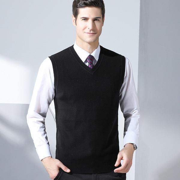 GREVOL Neue Ankunft Marke Männer Einfarbig Wolle Pullover Weste Winter Mode Smart Casual V-ausschnitt Sleeveless Wollpullover 8152