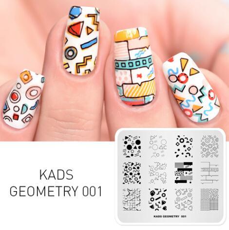 Neue Ankunft Überdruck DIY Maniküre Platte 8 Option Wahl Blume Natur Geometrie Serie Design Nail art Stamping Platte