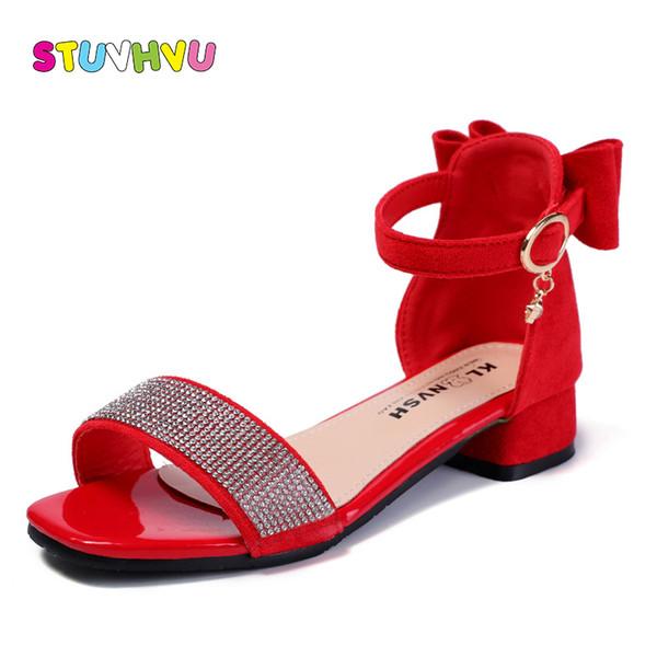 zapatos de separación dfd7d 5a2d8 Compre Zapatos Para Niños Sandalias Para Niñas Verano Nueva Niña Zapatos  Suave Antideslizante Rhinestone De Cuero Tacones Altos Princesa Para Niños  A ...