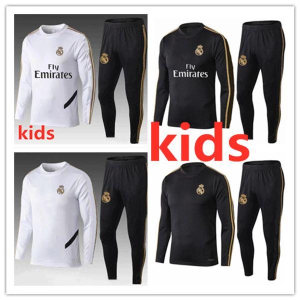 New Real Madrid kids Tracksuit Long Sleeve Jogging Soccer kit 2019 2020 child Sport Wear 19 20 RAMOS ISCO BALE ASENSIO training kit
