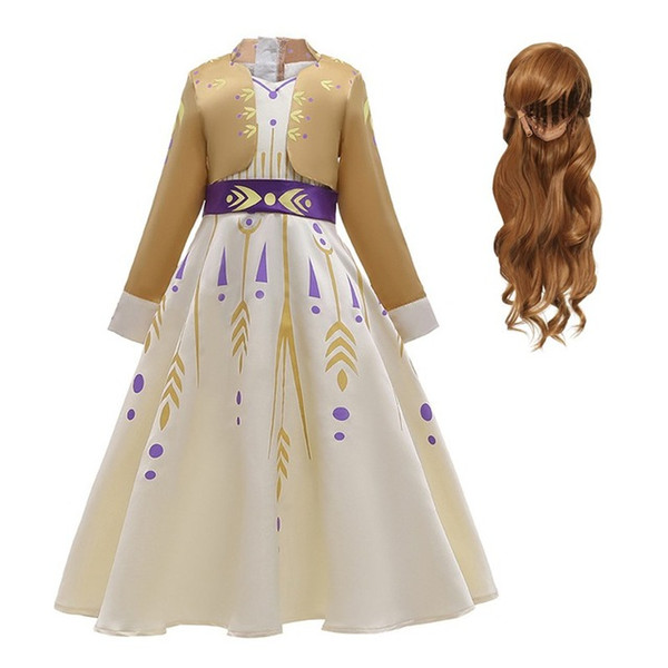 New Little Anna Dress Up menina manga comprida Falso Roupa Pageant partido Two Pieces Snow Queen Máscara Halloween 3-12T Drop Shipping