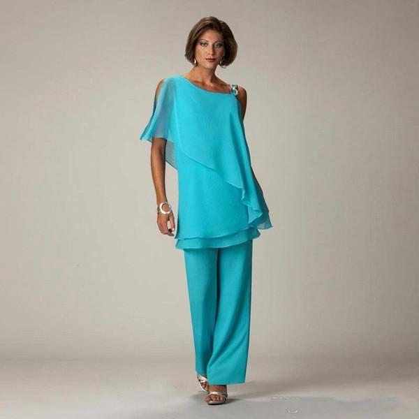 Pavão Azul Um Ombro Mãe da Noiva Ternos Chiffon Mãe da Birde Vestidos Mulheres Calças Terno BC1834
