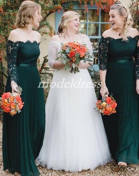 2019 Hunter Green Bridesmaid Dresses Off Shoulder Long Sleeve Lace Floor Length Chiffon Garden Country Beach Plus Size Wedding Guest Gowns