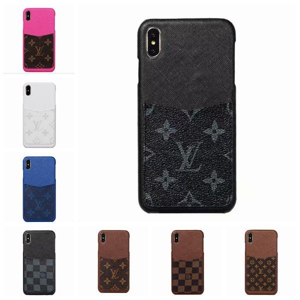 Designer de moda de luxo tampa do telefone de couro tampa traseira para o iphone x xs max xr com cartão designer case para iphone 6 6 s 7 8 plus goophone x 08