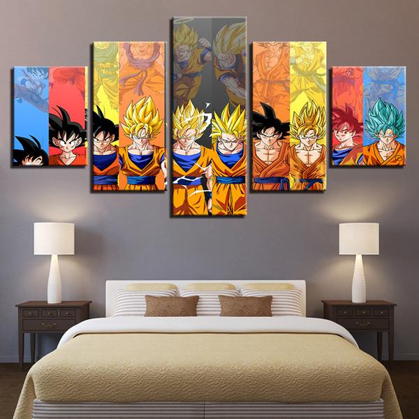 Modüler Tuval Baskı Posteri Duvar Sanatı Çerçeve 5 Parça Karikatür Dragon Ball Z Goku Karakter Evrim Resimleri Resimleri Ev Dekor