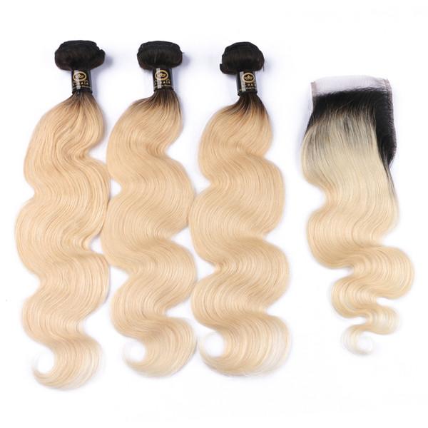 Brille los paquetes de cabello con cierre 100% humano 10-30 pulgadas Ombre 613 indio de la onda del cuerpo peruano Virgin Hair