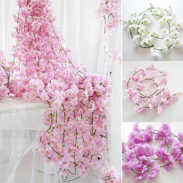 200 cm Sakura Kirsche Rattan Hochzeit Bogen dekoration Rebe Künstliche blumen Home party decor Silk Ivy wandbehang Girlande Kranz 10