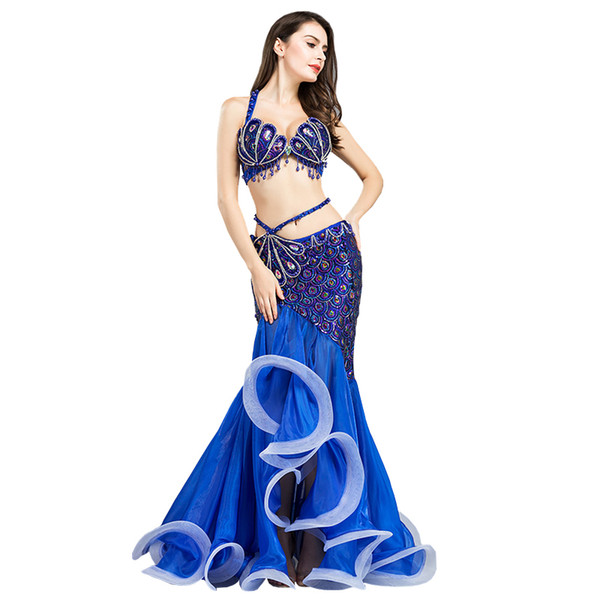 Luxury Belly Dance Costumes Beading Professional Halloween Christmas Party Dancing Wear 2 Pcs Set Bellydance Outfit Bra + Skirt