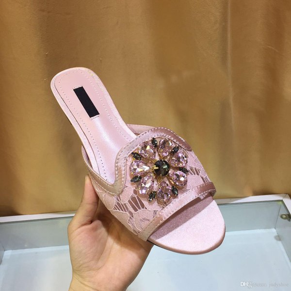 Classic summer Women Slippers lace flat Heels colorful crystal flowers embellied Mules rhinestone flip flops beach Shoes chaussure femme