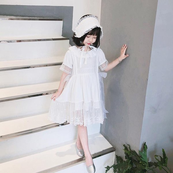 2019 Summer New Princess Dress Babu Girls Lace Sweet Style Cotton Dress White Short Sleeve Tutu Party Dress Children Clothes 760