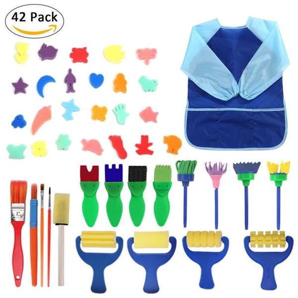 best selling 42 PCS Set Baby Drawing Sponge Brushes Suit Kids DIY Flower Art Graffiti Painting Tool Educational Toy