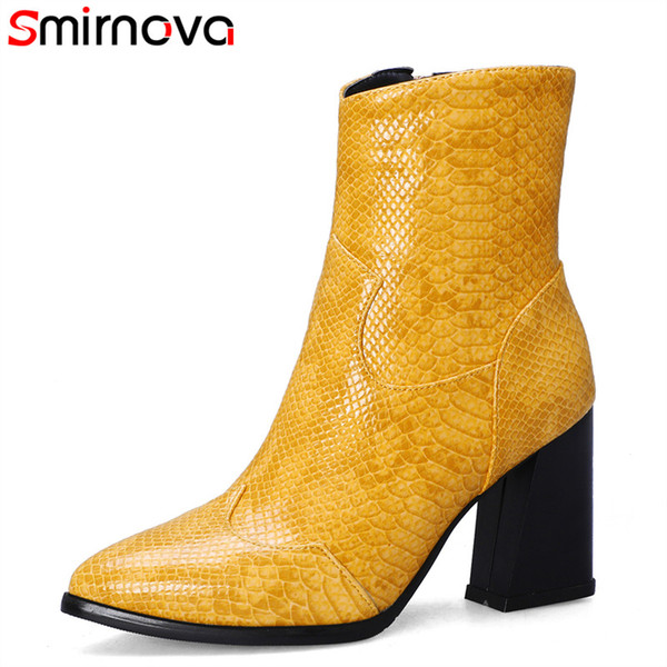 Smirnova 2020 new arrive winter autumn boots for women pointed toe dress shoes sexy high heels boots hot sale female ankle
