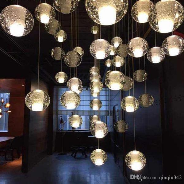 top popular G4 Famous  LED Crystal Glass Ball Pendant Meteor Rain Ceiling Light Meteoric Shower Stair Bar Droplight Chandelier Lighting AC110-240V 2021