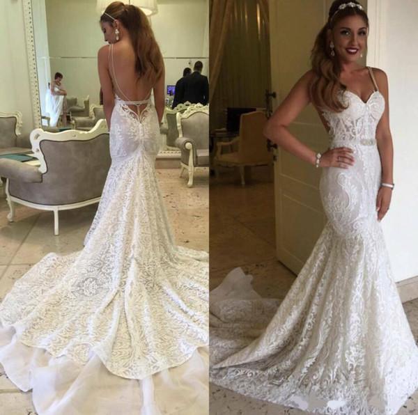 2020 Luxo Sexy Mermaid Tribunal vestidos de casamento de trem Spaghetti Pescoço V Lace Applique Floral Sem Costas Princess Bride do vestido de casamento