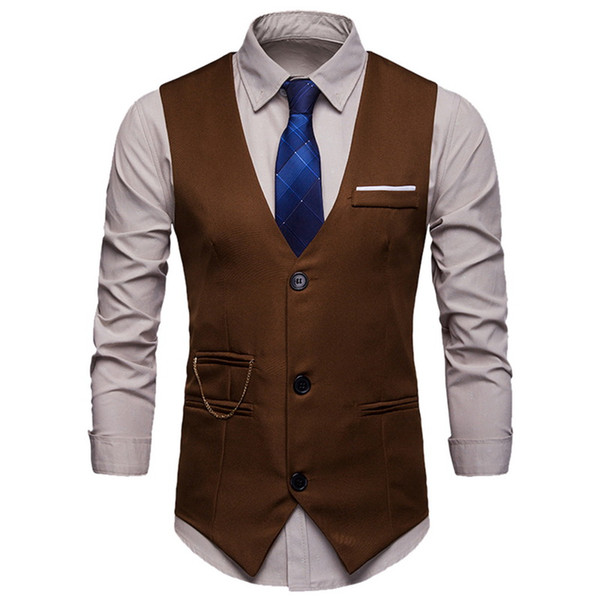Laamei erkek 2019 İlkbahar Sonbahar Yeni İngilizce Stil İnce Erkekler Gömlek Yelek Düz Renk Kolsuz Kalın Sıcak Resmi Erkek Takım Elbise Yelek