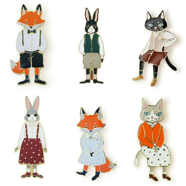 Niedliche Cartoon Pins und Broschen Kaninchen Fuchs Katze paar Emaille Pin Abzeichen Hut Rucksack Zubehör Liebhaber Schmuck Geschenk für Liebhaber