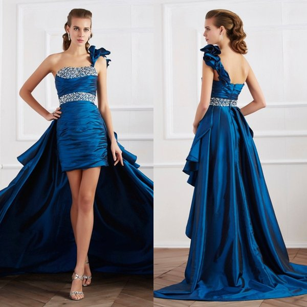 High Low One Shoulder Prom Dresses Navy Blue Vintage Silk Satin Beaded Formal Evening Gowns Inexpensive Modest special occasion dresses 2018