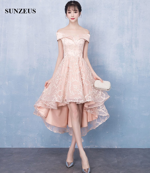 Short Front Long Back Evening Dresses 2019 Off Shoulder Champagne Lace High Low Formal Gowns New Short Party Dress For Girls