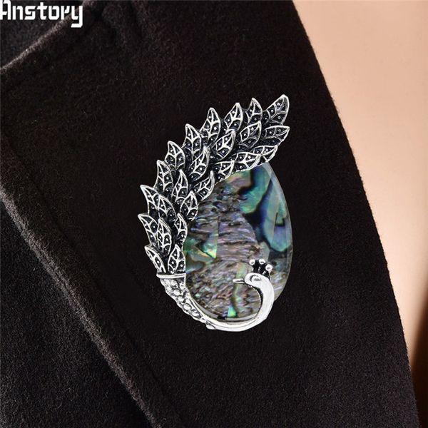Günstige Muschelperle Pfau Tier Vintage Look Antikes Silber Überzogene Modeschmuck Broschen Günstige Broschen