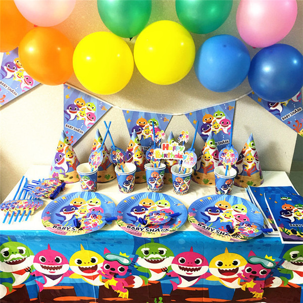 Baby Shark Birthday Party Supplies Paper Cup Banners Decoration For Enfant Boy And Girl Theme Ideas Tableware Set