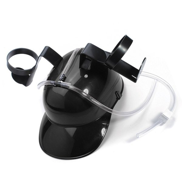 Practical Adjustable Fun Unique Party Game Beer Soda Can Straw Holder Drinking Hard Hat Helmet Black