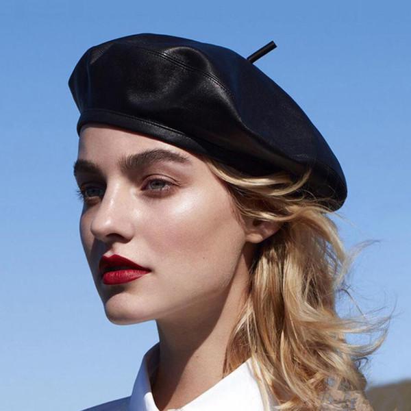 Chapeau de béret en cuir souple de mode printemps et en automne art citrouille chapeau rétro peintre adulte chapeau WCW291